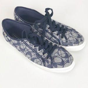 Coach Kalyn Denim Navy Lace Up Sneakers